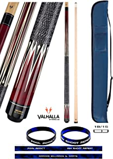 product image for Valhalla VA303 by Viking 2 Piece Pool Cue Stick Linen Wrap, Burgundy 16 Point HD Transfers, High Impact Ferrule, 3 Nickel Silver Rings 18-21 oz. Plus Cue Case & Bracelet (Burgundy VA303, 18)