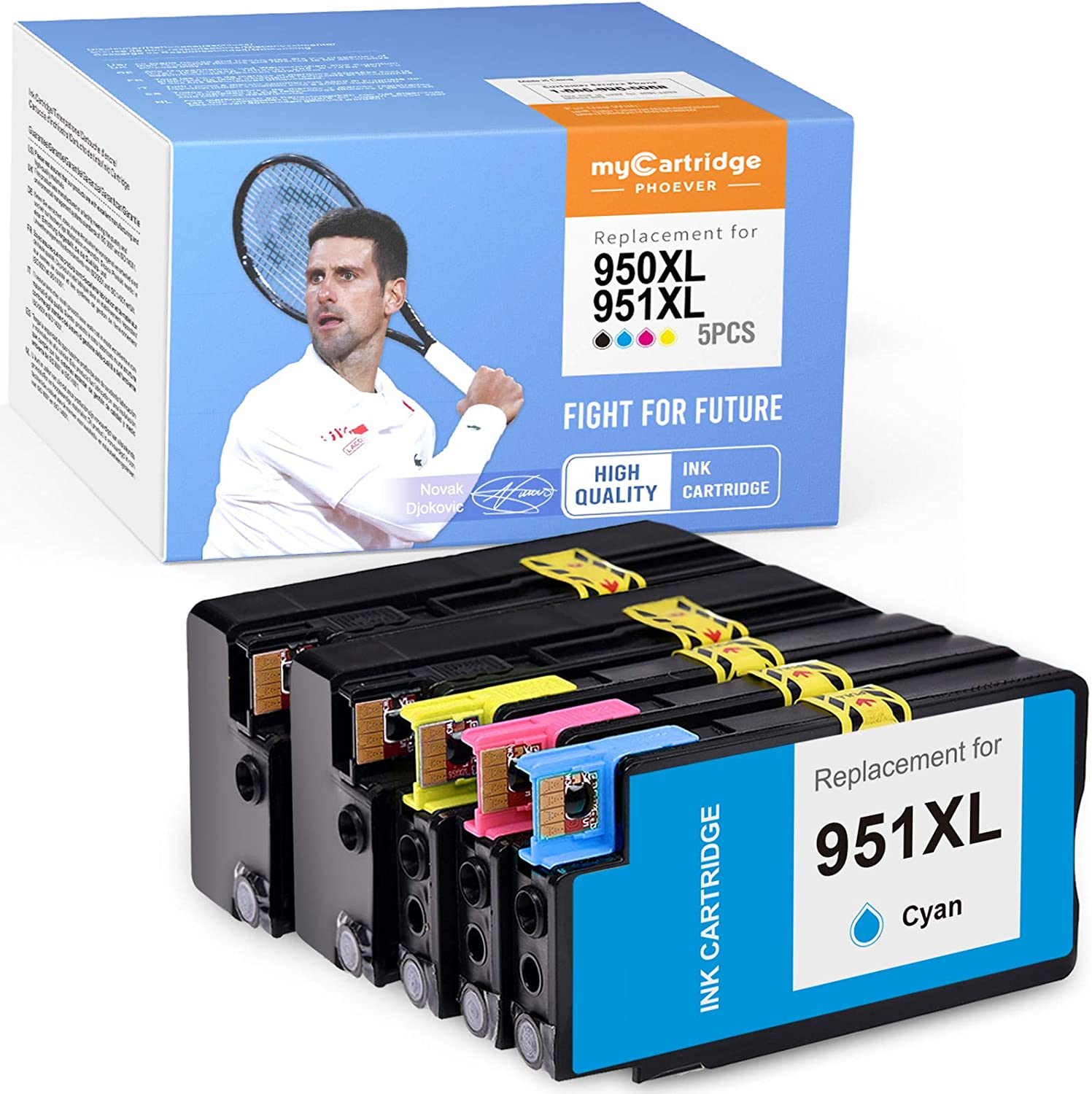 myCartridge PHOEVER Compatible Ink Cartridge Replacement for HP 950XL 951XL 950 XL 951 XL Ink for Officejet Pro 8600 8100 8625 8610 8630 8615 8620 8640 High Yield (Black Cyan Magenta Yellow, 5-Pack)