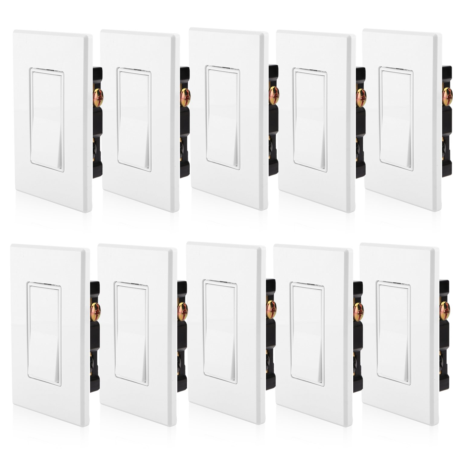 [10 Pack] BESTTEN Single-Pole Decorative On/Off Rocker Quiet Wall Light Switch, Screwless Wall Plate Included, Residential & Commercial Grade, Grounding, UL Listed, White