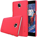 Nillkin Super Frosted Shield Hard Back Cover Case for Oneplus Three / One Plus Three / 1+3/ OnePlus 3/ One plus 3 (Red) , Free Screen guard