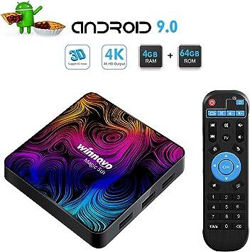 Winnovo 4K Android 9.0 TV Box, Magic 5th Ultra HD 4GB RAM 64GB ROM Smart TV Streaming Player Arm 64 bits Quad Core, apoya Bluetooth 4.0/ H.265/ WiFi/USB/HDMI/Netflix: Amazon.es: Electrónica