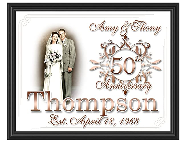 Amazon 50th Anniversary Gift Framed Custom Photo Picture