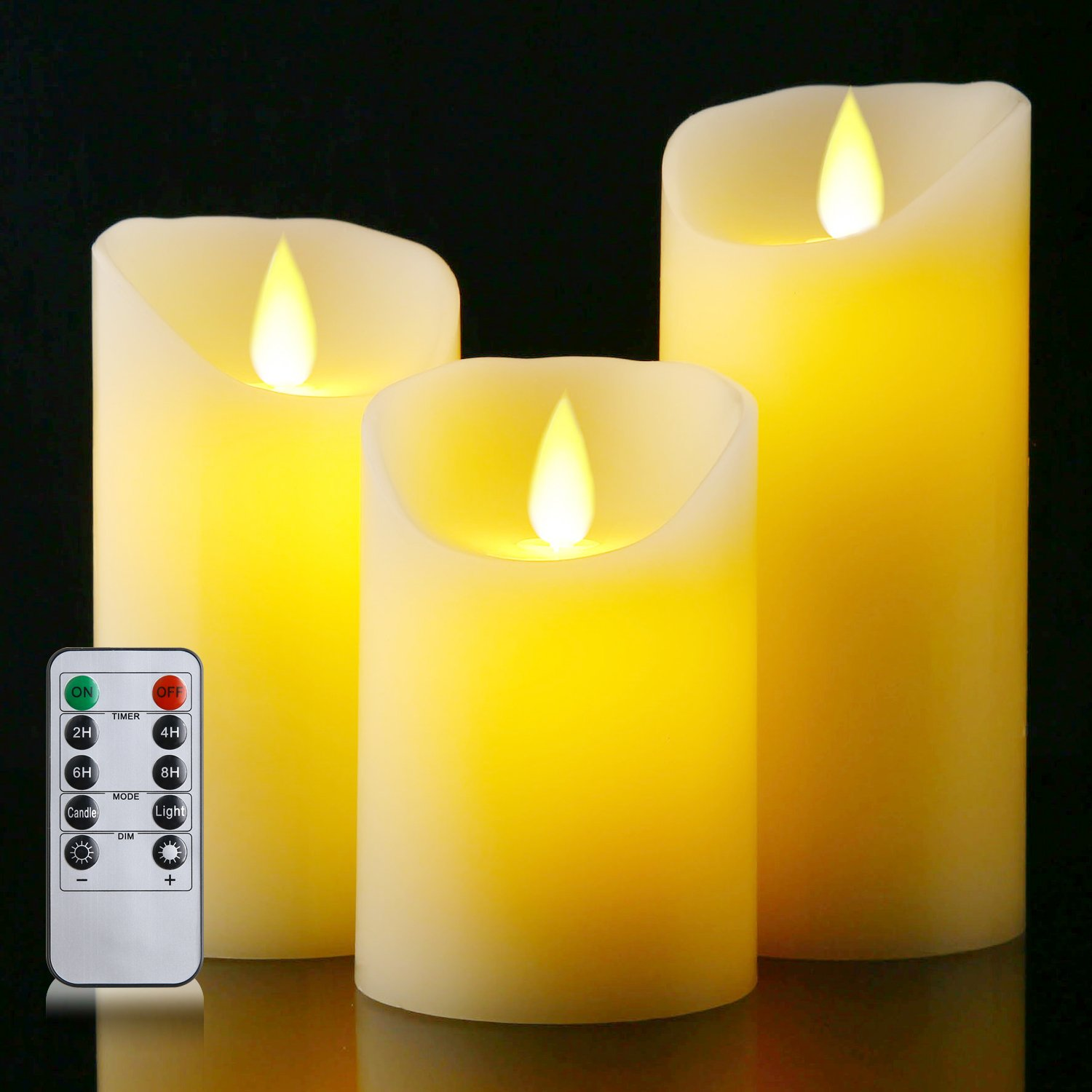Kosole Flameless LED candles 4'' 5'' 6'' Set of 3 Battery Operated Candles