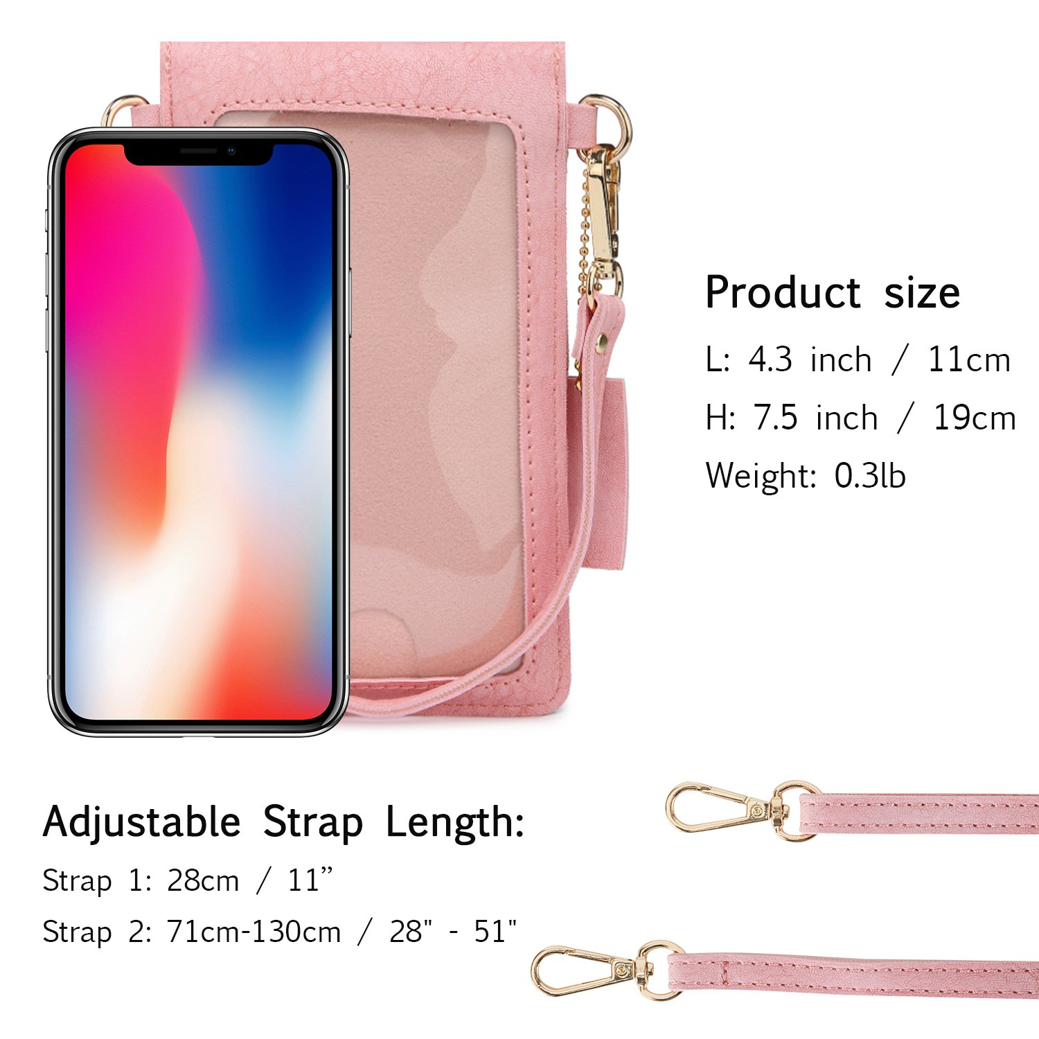 seOSTO Small Crossbody Bag, Cell Phone Purse Smartphone Wallet with 2 Shoulder Strap Handbag for Women (pink) by seOSTO (Image #5)