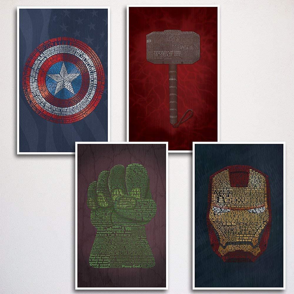 Avengers Word Art Poster Print Four Set 11x17