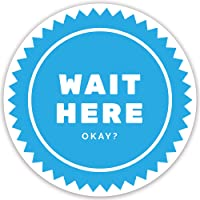 Wait HERE Social Distancing Floor Stickers - Pack of 10 Signs, 12