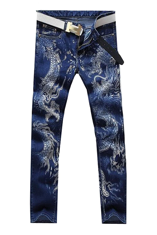 Goocyber Mens Dragon Print Stretchy Denim Biker Jeans Hip Hop Pants
