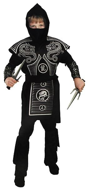 Amazon.com: Color Negro y Plateado Niño Ninja Costume, L ...