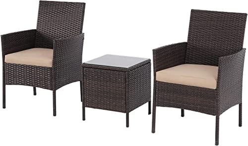 Skiway 3 Pieces Patio Rattan Furniture Sets Outdoor Wicker Chair
