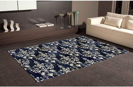 Teppich Bettvorleger Pvc Motive Damaskus Weiss Boden Blau Multicolore Differentes Masse Linoleum Vinyl Fur