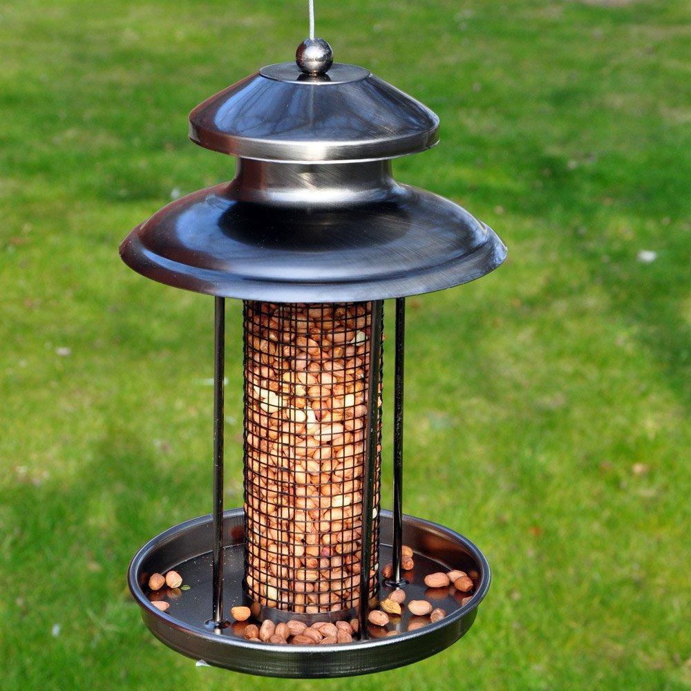 Happy Beaks Kingfisher Hanging Bird Feeder Easy Fill Peanut Nut Pewter Lantern for Small Birds by