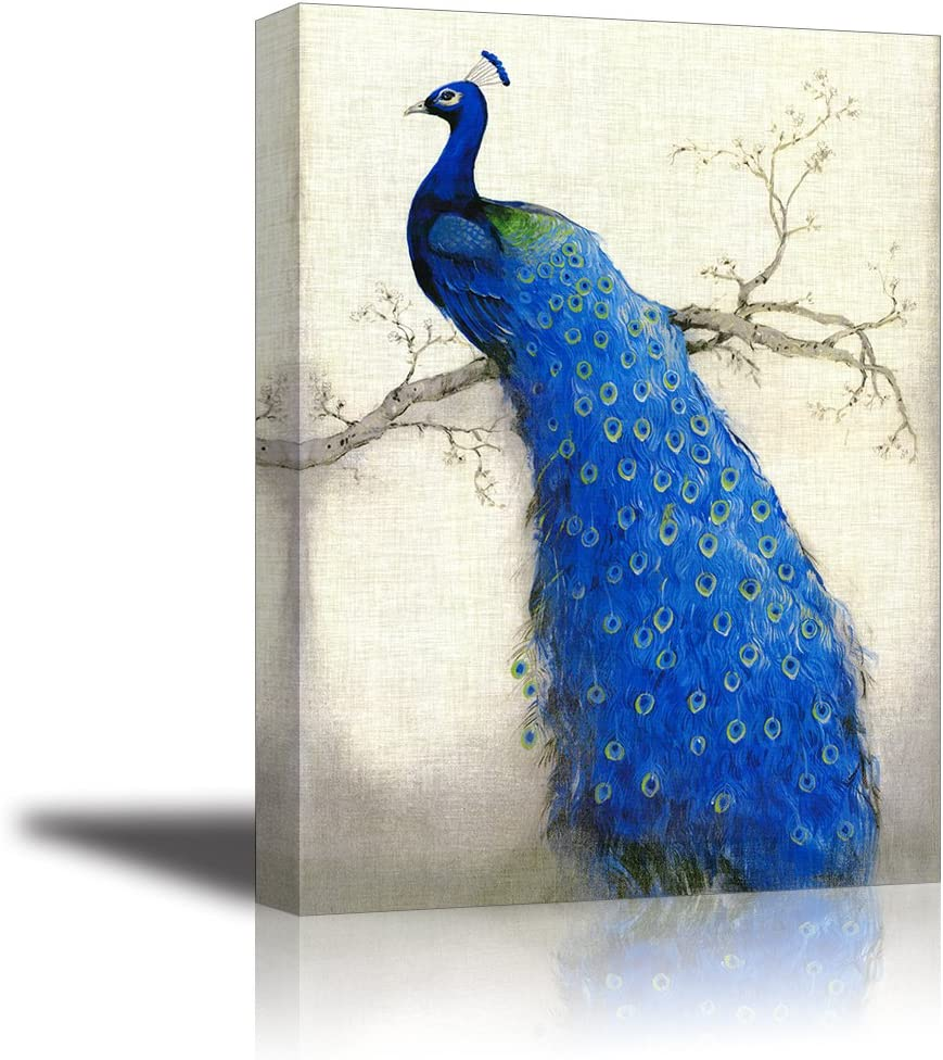 "Peacock Wall Art Decor for Bedroom, PIY HD Beautiful Oil Painting Canvas Prints of Elegant Proud Peacock on Beige Pictures (1"" Thick Frame, Waterproof Artwork, Bracket Mounted Ready to Hang)"