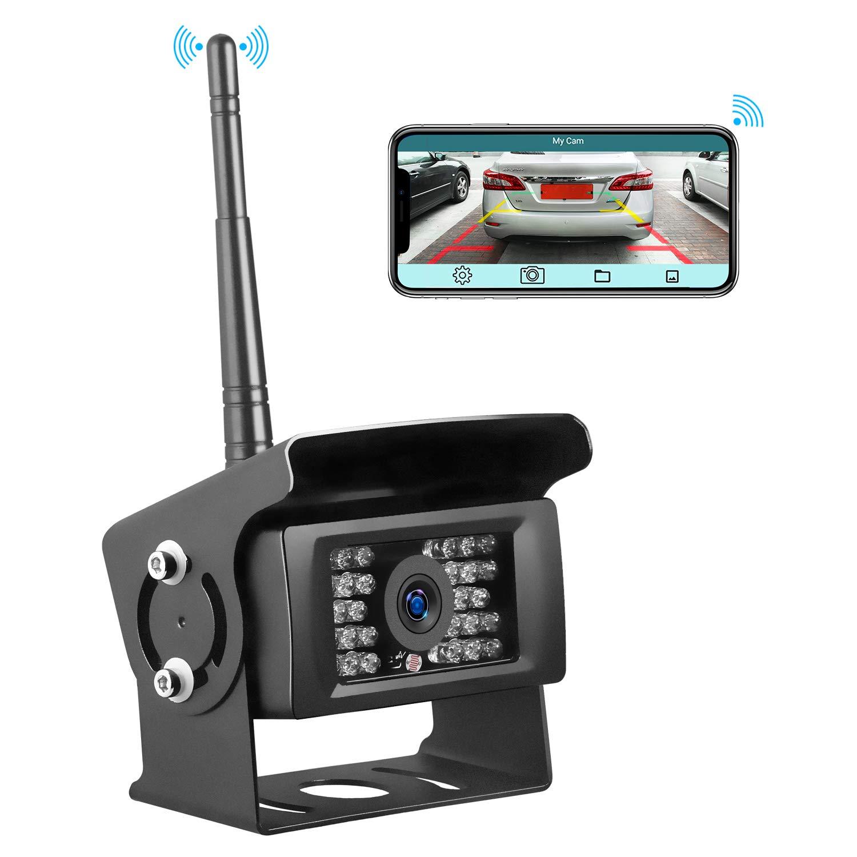 Trohestar Digital Wireless Backup Camera, WiFi Rear View Camera with 28 Infrared Night Vision LED, IP69 Waterproof, Wireless Backup Camera for Trucks, RV, Vans, Camping Cars, Trailer