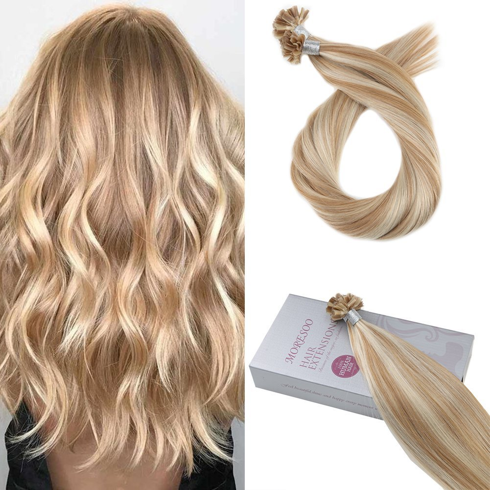 Moresoo 20 Inch Brazilian Hair U Tip Extensions Prebonded Fusion Hair Extensions Human Hair 1 G/S 50 Grams Per Pack Brown #4 Mixed with Caramel Blonde #27 Ltd