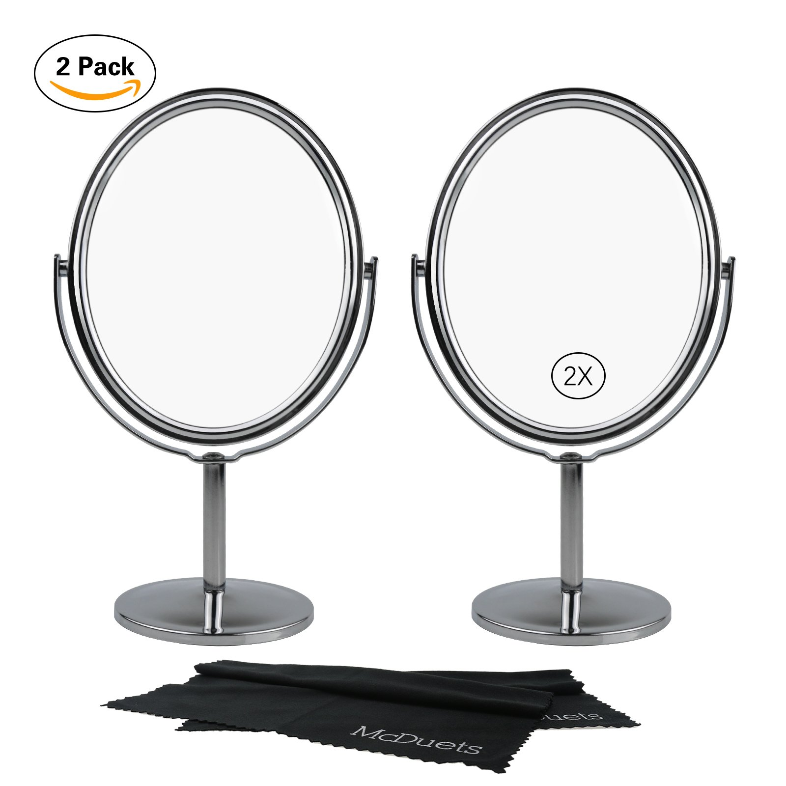 McDuets Small Makeup Mirror with Stand | Pack of 2 | Two-sided 360 Degree Swivel Vanity (1x-2x) Magnification Tabletop | Gift for Women, Girls, Dolls | Choose Color/Size (Silver, 4'' Oval)