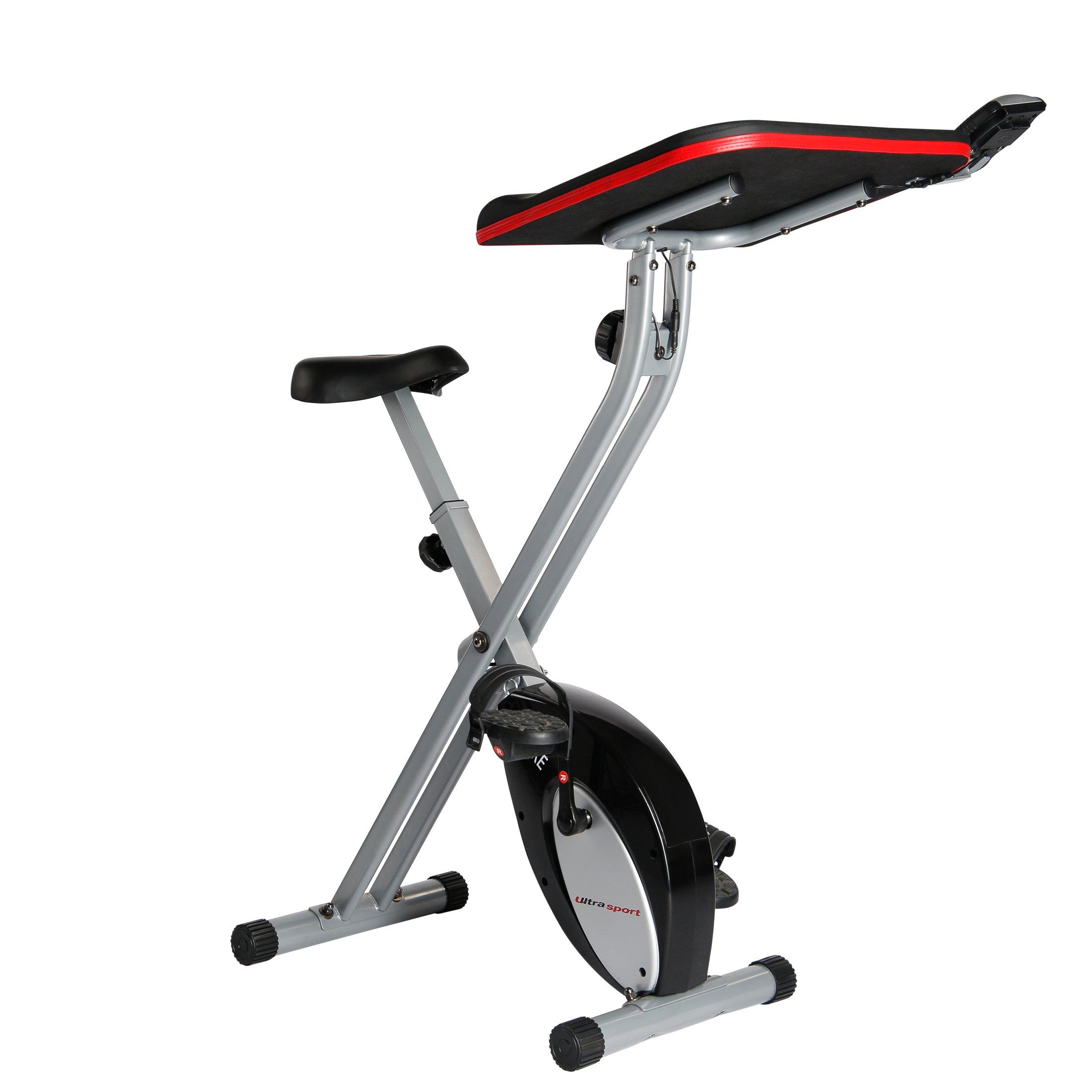 Ultrasport F-Bike Work - Bicicleta estática con estación de trabajo, aparato doméstico,