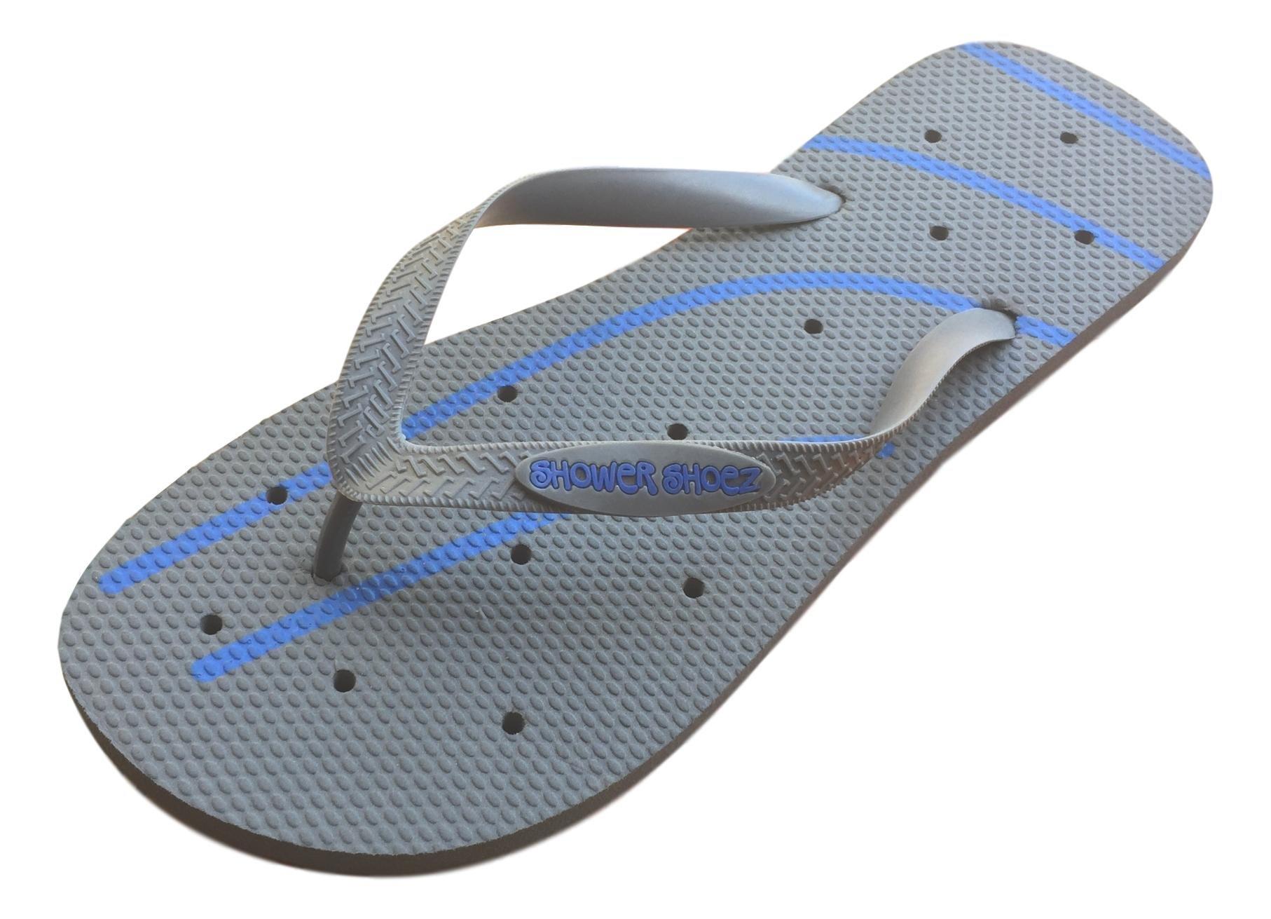 Shower Shoez Men's Antimicrobial Non-Slip Pool Dorm Water Sandals Flip Flops (XLarge 12/13, Grey/Blue)