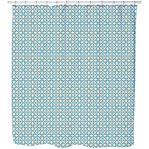Uneekee Moorish Tiles Shower Curtain: Large Waterproof Luxurious Bathroom Design Woven Fabric by uneekee