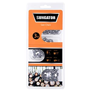 "SUNGATOR Saw Chain, SG-S33, 8-Inch - .050"" Gauge - 3/8"" LP Pitch - 33 Drive Links, Semi-chisels Chainsaw Chain Fits Specific Models of Chicago, Earthwise, Greenworks, Sun Joe (3-Pack)"