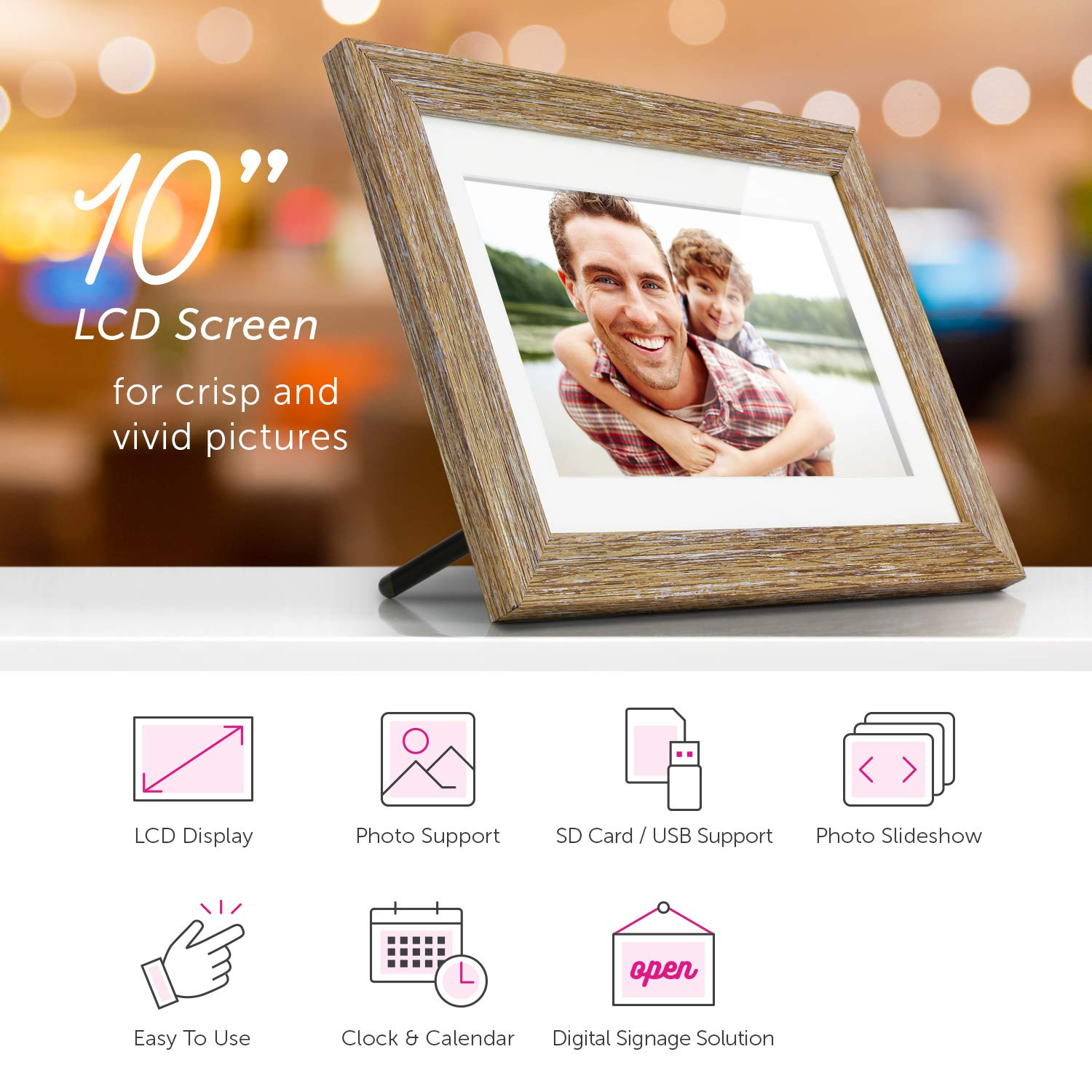 Aluratek (ADPFD10F) 10 inch Digital Photo Frame with Auto Slideshow, Distressed Wood Border, 1024 x 600, 16: 9 Aspect Ratio, Wall Mountable by Aluratek (Image #4)