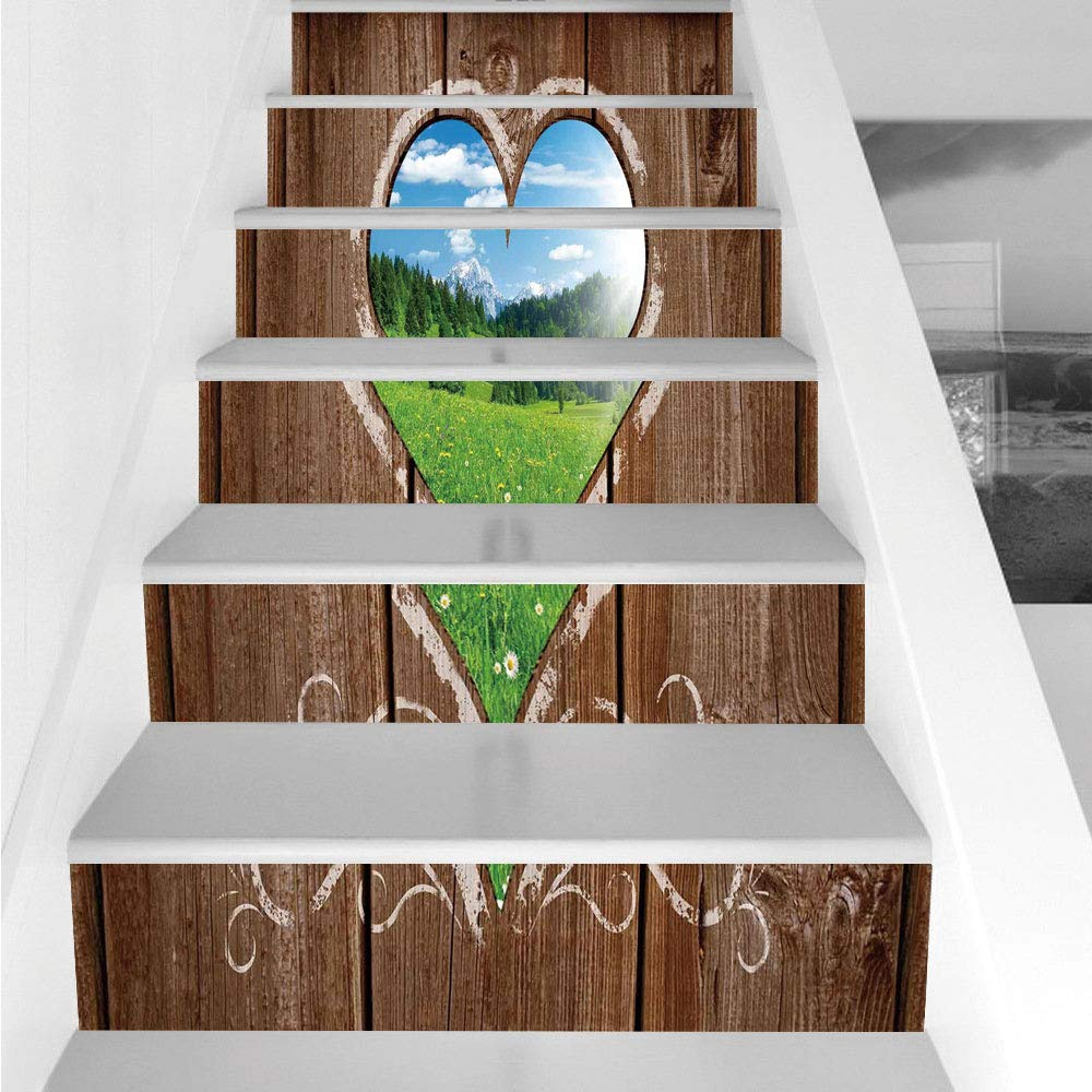 Stair Stickers Wall Stickers,6 PCS Self-adhesive,Outhouse,Heart Window View from Wooden Rustic Farm Barn Shed with Chalk Art Image,Brown Blue and Green,Stair Riser Decal for Living Room, Hall, Kids Ro