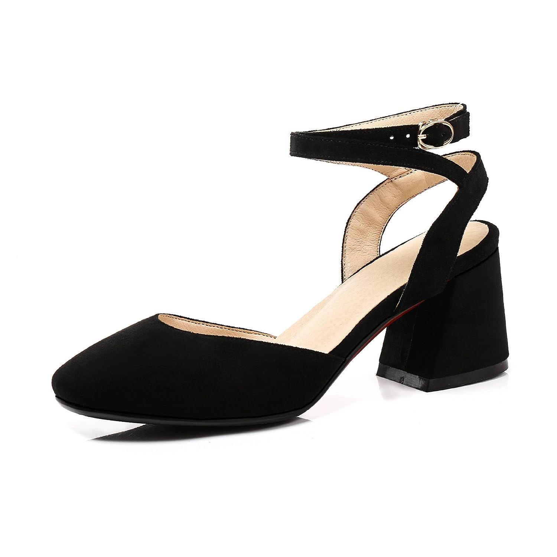 Unbekannt Sandalen Damen Damen Damen Quadratischen Kopf Flach Mund High Heel Rücktaste Schnalle Römische Schuhe Schwarz 39 4d2abb