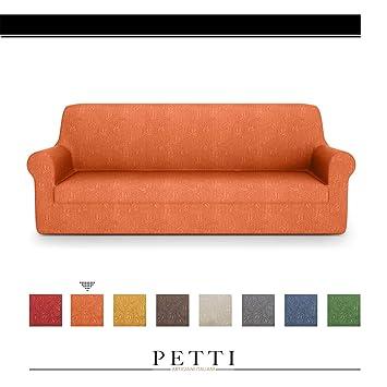 PETTI Artigiani Italiani – Fundas Sofa, Fundas de Sofa, Funda Sofa 4 Plazas, Naranja, Fundas Sofa Elasticas, Tejido Jacquard, 100% Made in Italy