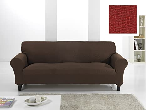 textil-home Funda de Sofá Elástica EKTORP, 3 plazas - Desde 180 a 240 cm. Color Rojo (Modelo Exclusivo Funda Sofá EKTORP IKEA)