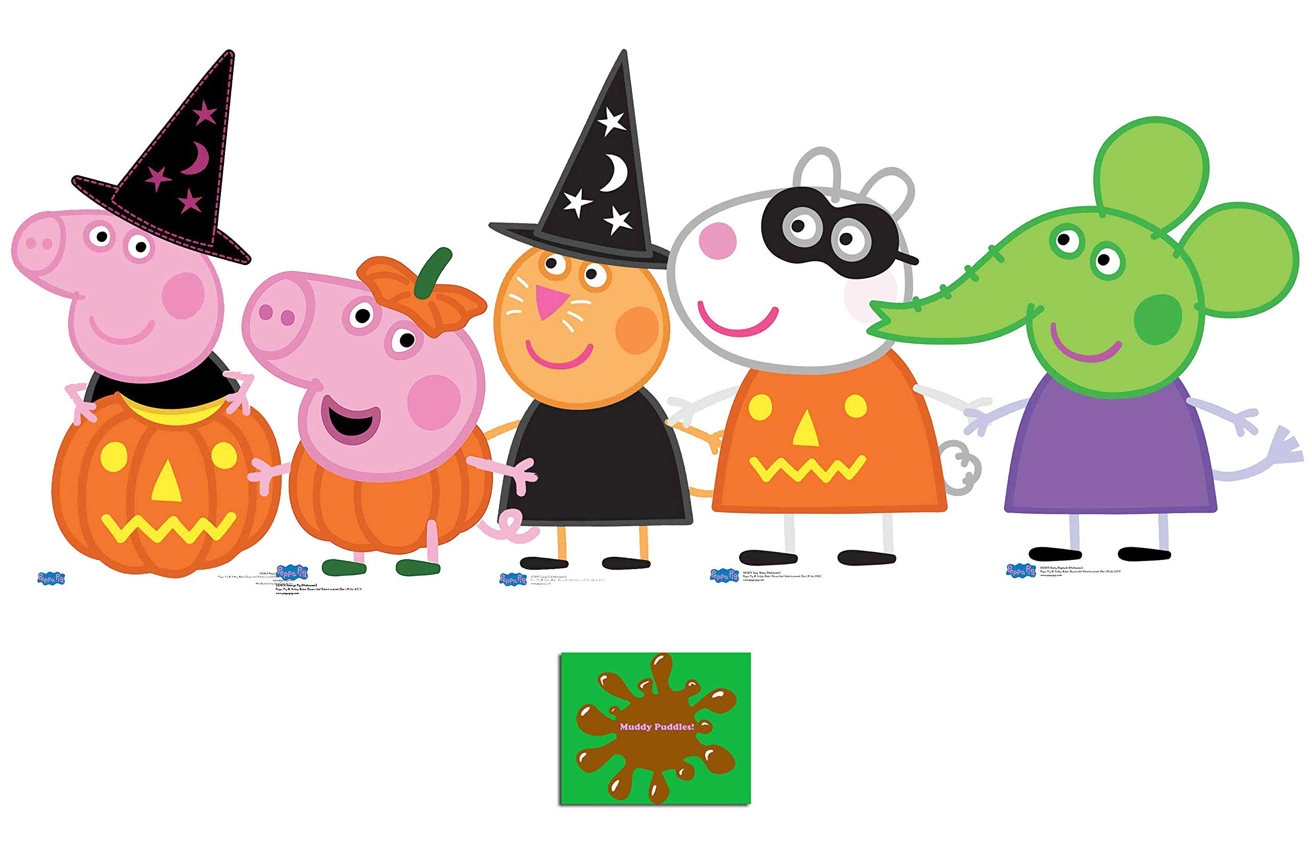 Peppa Pig Halloween Theme Collection with Suzy, Emily, George, Peppa and Candy Set of 5 Cardboard Cutouts Fan Pack, Includes 8x10 Star Photo