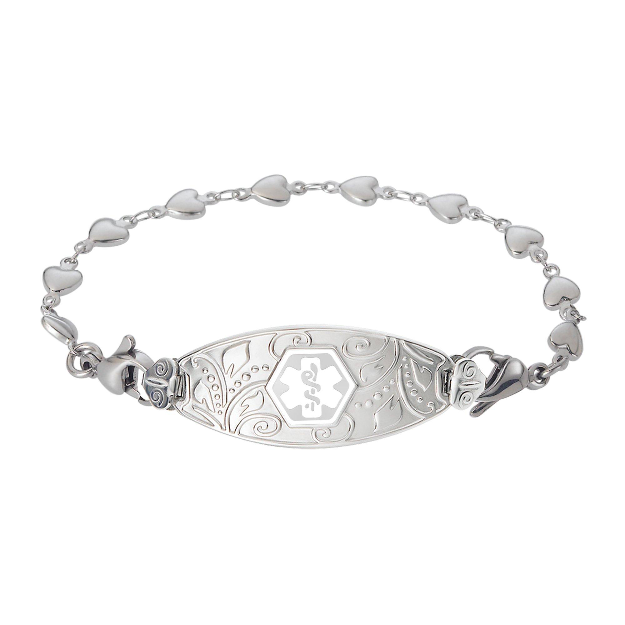 Divoti Custom Engraved Lovely Filigree Medical Alert Bracelet -Heart Link Stainless -White-7.5''