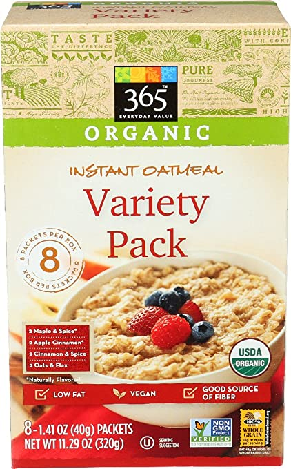 Organic variety pack of instant oatmeal