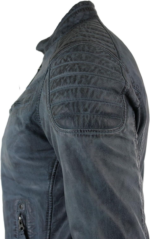 Aviatrix Mens Blue Grey Real Leather Designer Zipped Biker Jacket Washed Casual Vintage Blue