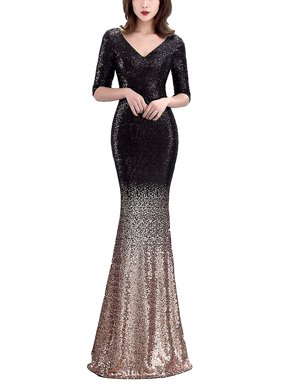16116blackgold Chowsir Women Sexy Elegant Slim Sequin Long Cocktail Party Evening Dress