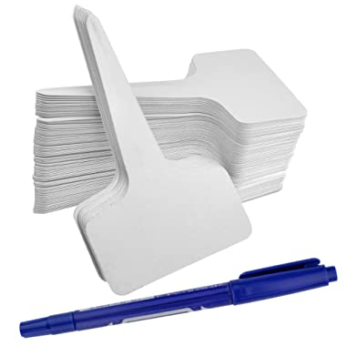 Ishua 100pcs 2.36 x3.94  inch(6 x10 cm) Plastic Plant T-type Tags Markers Nursery Garden Labels Gray (White)
