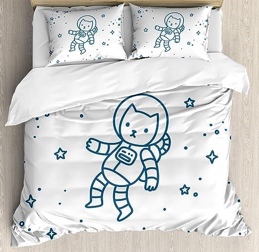 Juego de funda nórdica para gatos, astronauta de dibujos animados ...
