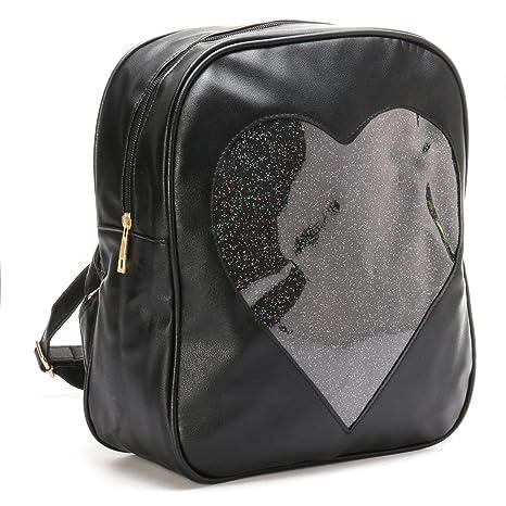 b634dba9d8 Amazon.com  ITA Bag Black Transparent Glitter Heart Backpack Harajuku Purse  Traveler Bag Girls  Sports   Outdoors