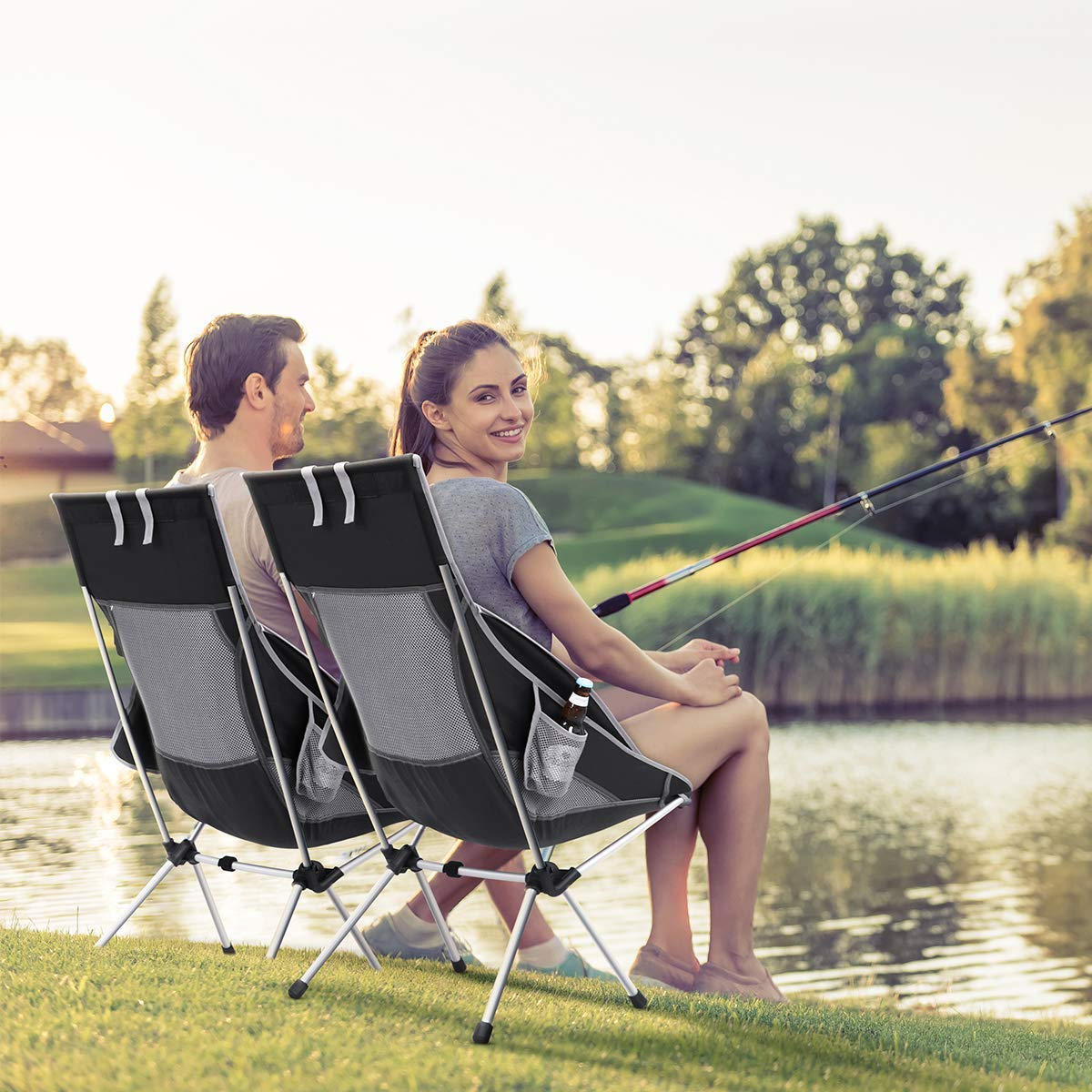 MOVTOTOP Folding Beach Camping Chair, Newest 2019 Portable Outdoor Backpack Camping Chair, High Back Rest Beach Chairs with Carry Bag Heavy Duty 300 lbs Capacity
