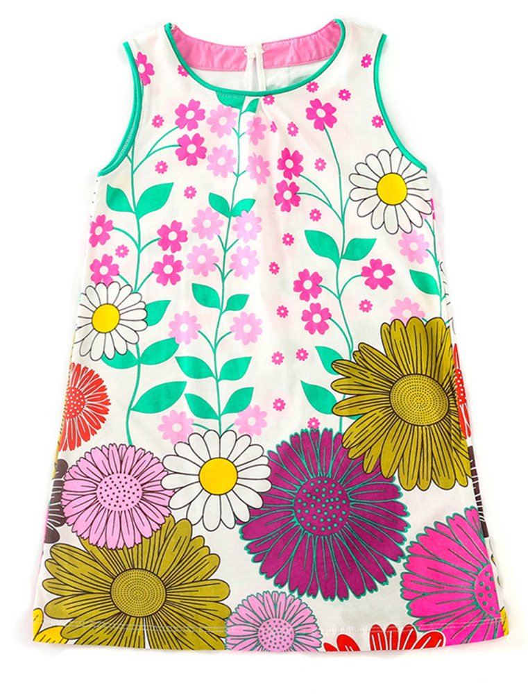 Jobakids Girls Summer Cotton Sleeveless Cute Prints with Pockets Dress for Toddler(Blue/2T/2-3YRS)