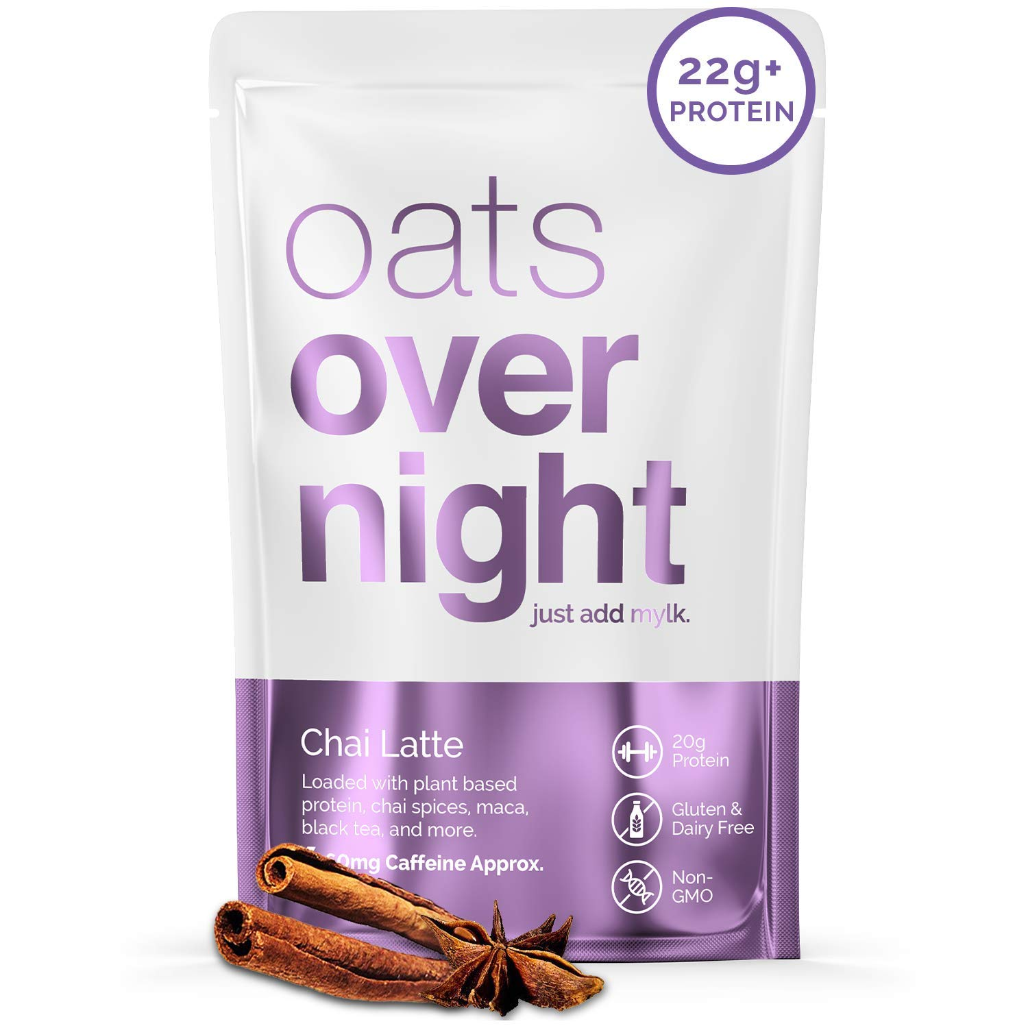 Oats Overnight - Chai Latte (8 Pack) Dairy Free, High Protein, Low Sugar Breakfast with Black Tea - Gluten Free, High Fiber, Non GMO Oatmeal (2.6oz per Pack)