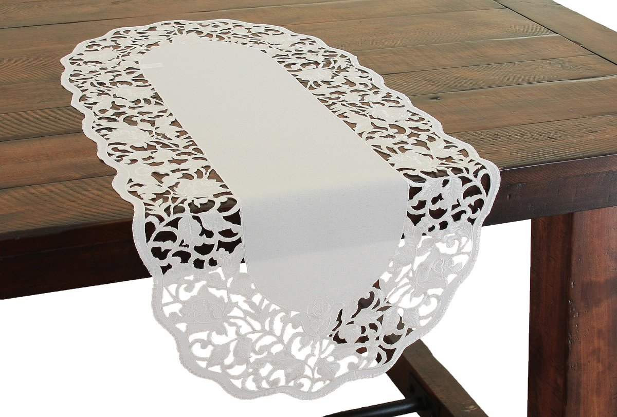 Xia Home Fashions Somerset Embroidered Cutwork Floral Table Runner, 16 by 34-Inch, White