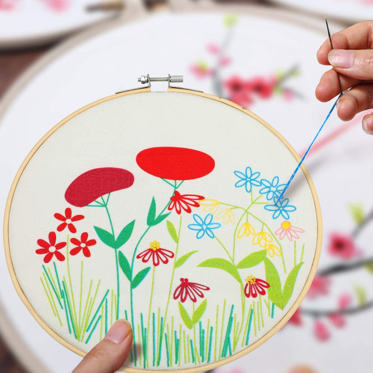 MWOOT Embroidery Starter Kit with Floral Pattern,DIY Cross Stitch Stamped Embroidery Craft Handmade Art Sewing Kit for Adults Beginner Stitch Starter 8 Inch,Style A