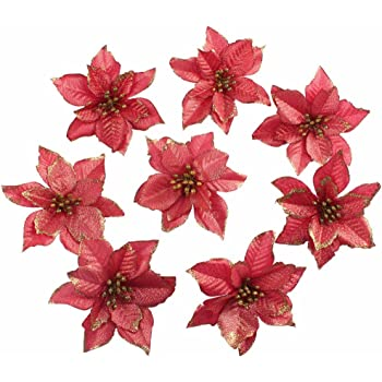 amajoy 12pcs glitter poinsettia christmas tree ornament artificial wedding christmas flowers xmas tree wreaths decor ornament 55inch red and gold for - Red Christmas Flower