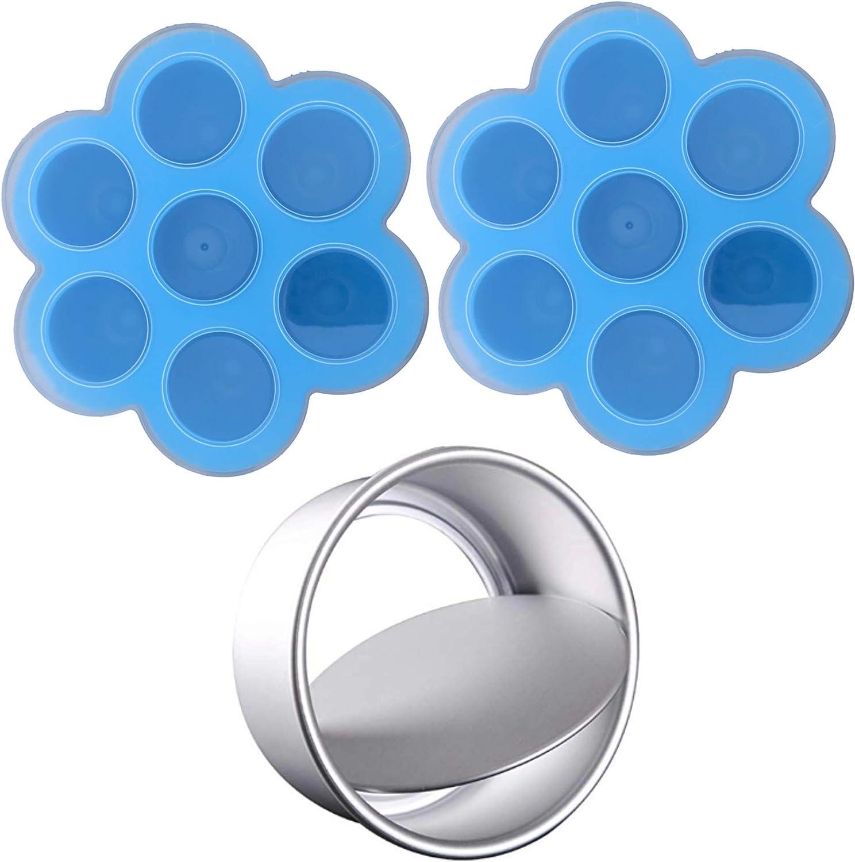 Silicone Egg Bites Molds for Instant Pot Accessories Bundle - Fits Instant Pot 3,5,6,8 qt Pressure Cooker, Reusable Storage Container and Sous Vide Egg Poacher (3 Quart, CheesecakePanBlue)