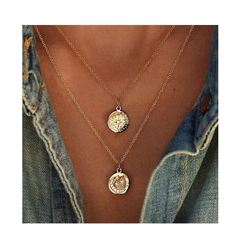 CAIYCAI Women Gold Chain Star Moon Sun Choker Necklace Crystal Coin Chocker