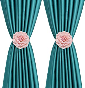YING CHIC YYC 1Pair Cloth Flower Magnetic Curtain Tieback Wedding Curtain Buckle Drapey Holder Girl's Room Decor (Pink)