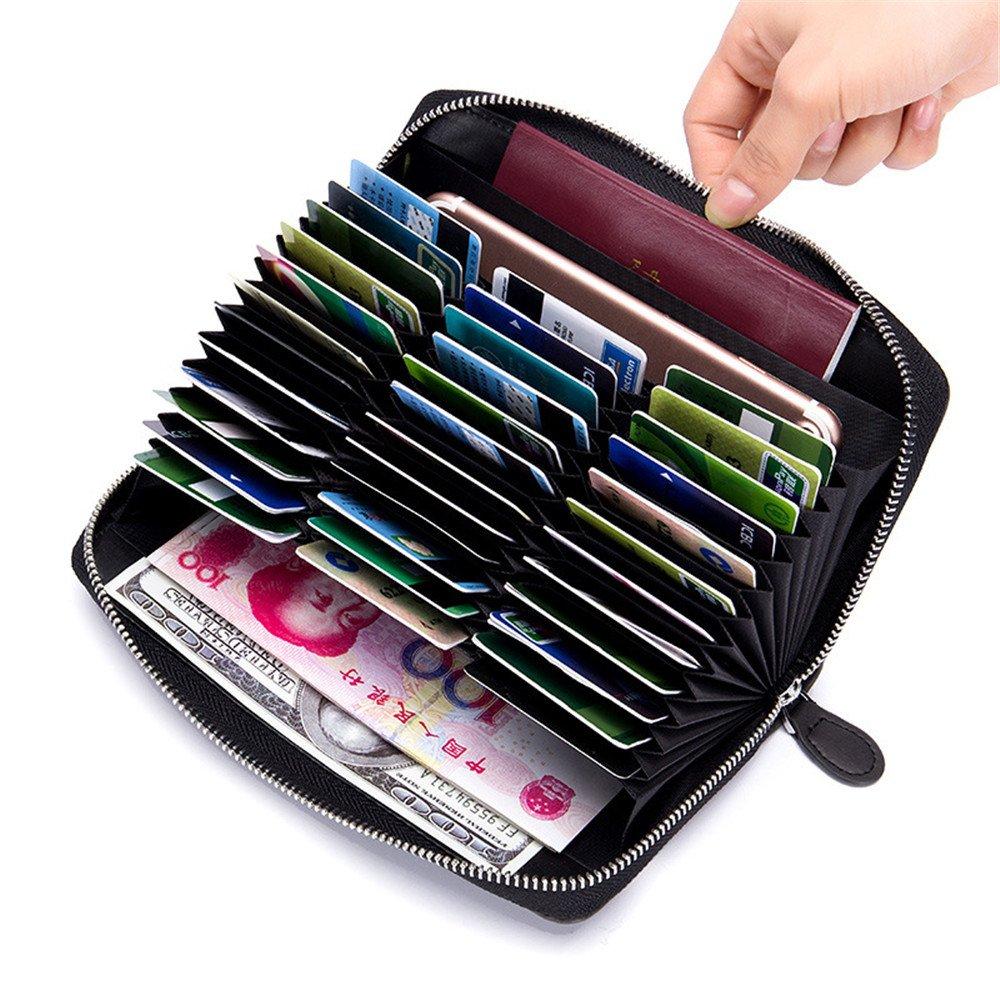 Sunborls Vintage Leather RFID Blocking Credit Card Holder Long Clutch Wallet (Black)