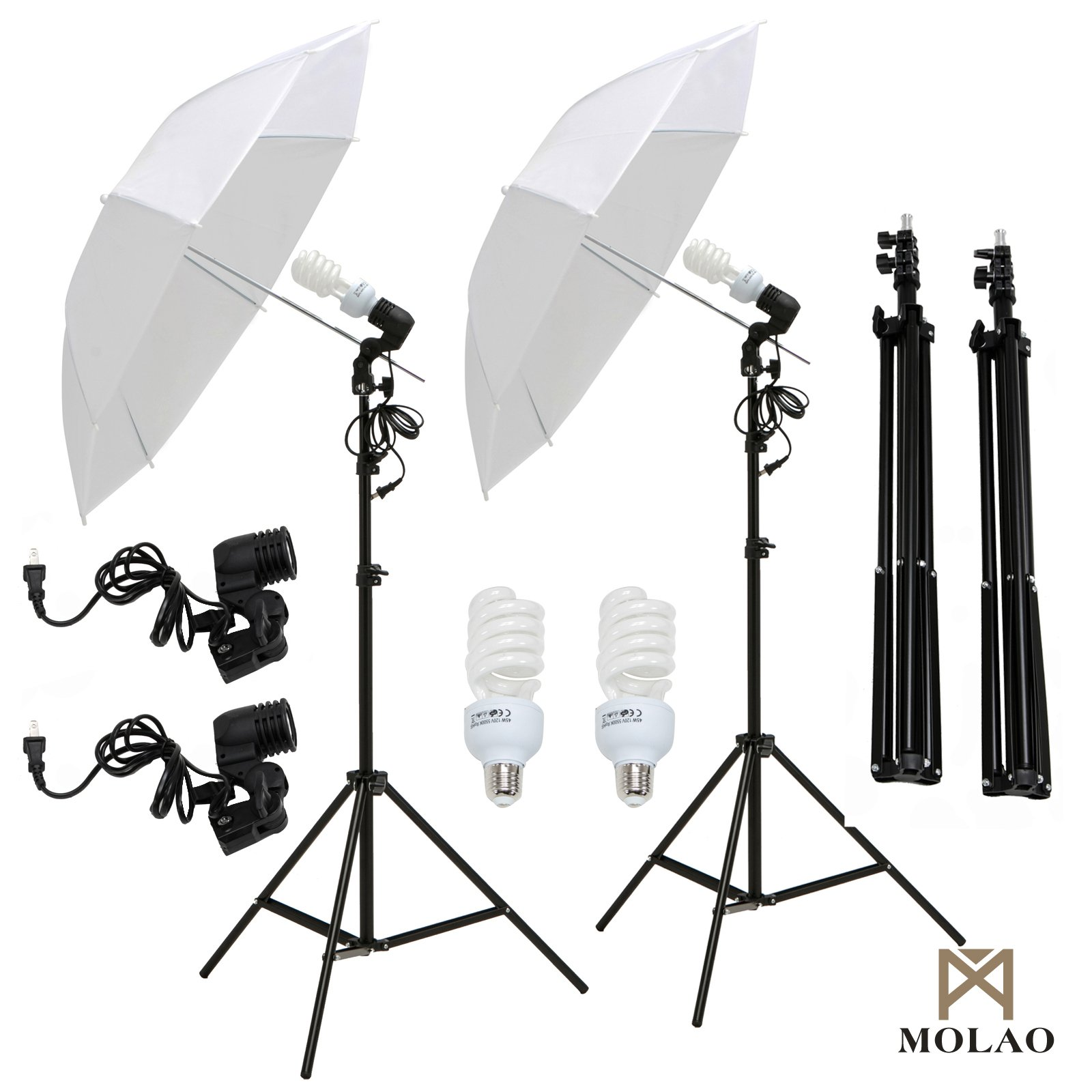 SUNCOO 2 x 33 Photo Studio White Umbrella Reflector Lamp Photography Stand Lighting Kit by SUNCOO
