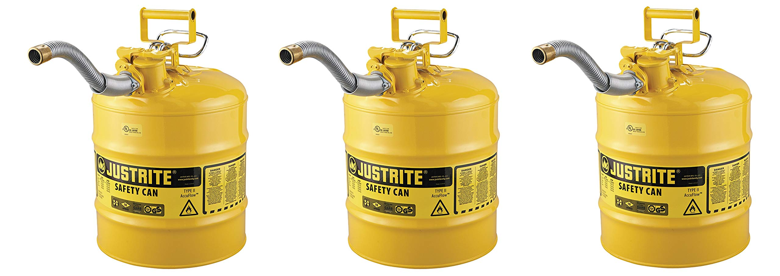 Justrite 7250230 AccuFlow 5 Gallon, 11.75'' OD x 17.50'' H Galvanized Steel Type II Yellow Safety Can with 1'' Flexible Spout (Pack of 3)