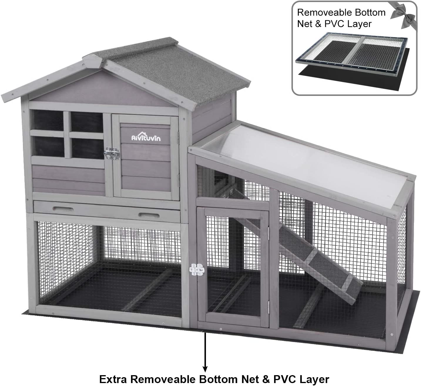 Aivituvin Rabbit Hutch Indoor and Outdoor,Bunny Cage with Removable Bottom Wire Mesh & PVC Layer,Bunny Hutch with Deeper No LeakageTray, UV Panel