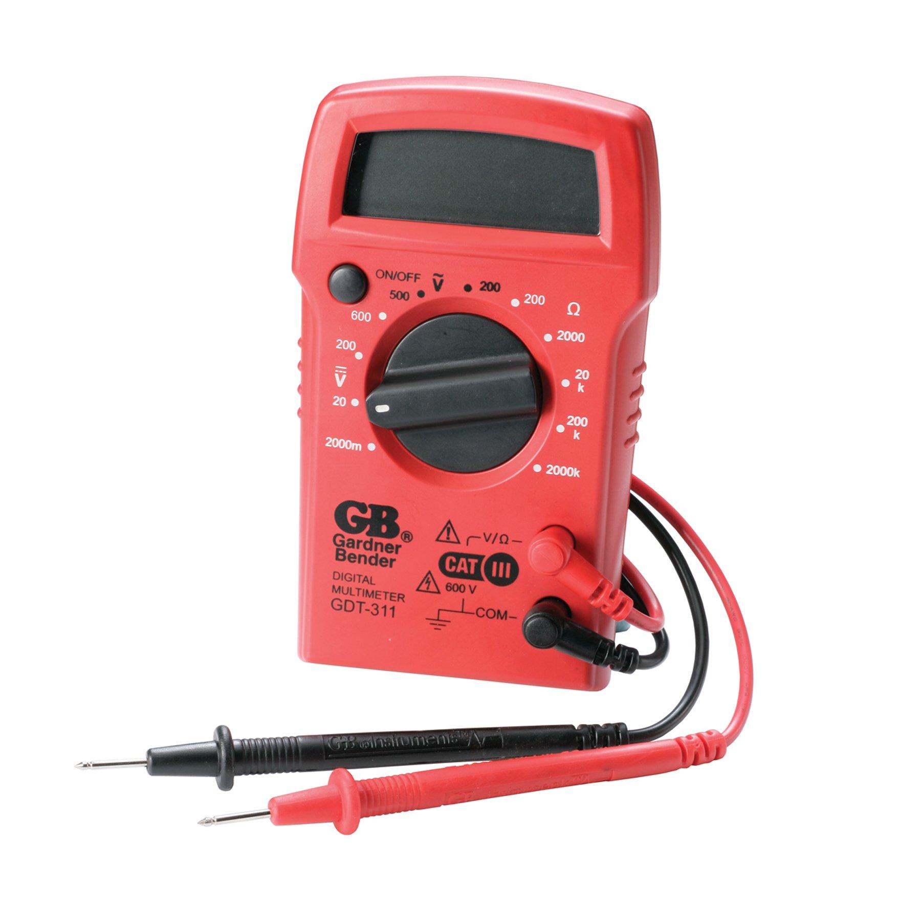 Gardner Bender GDT-311 Digital Multimeter, 3 Function, 11 Range, Tests AC/DC Voltage and Resistance, Manual Ranging, 3.5 inch Display, 1/Each